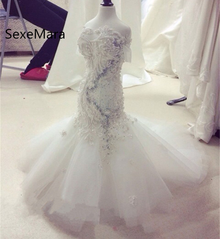 White Mermaid 2019 Flower Girls Dresses Pearls Beaded O Neck Party Gown Princess Birthday Dress Pageant Gown Size 2 4 6 10 12 h12094 princess hemline bridal gown white size xl