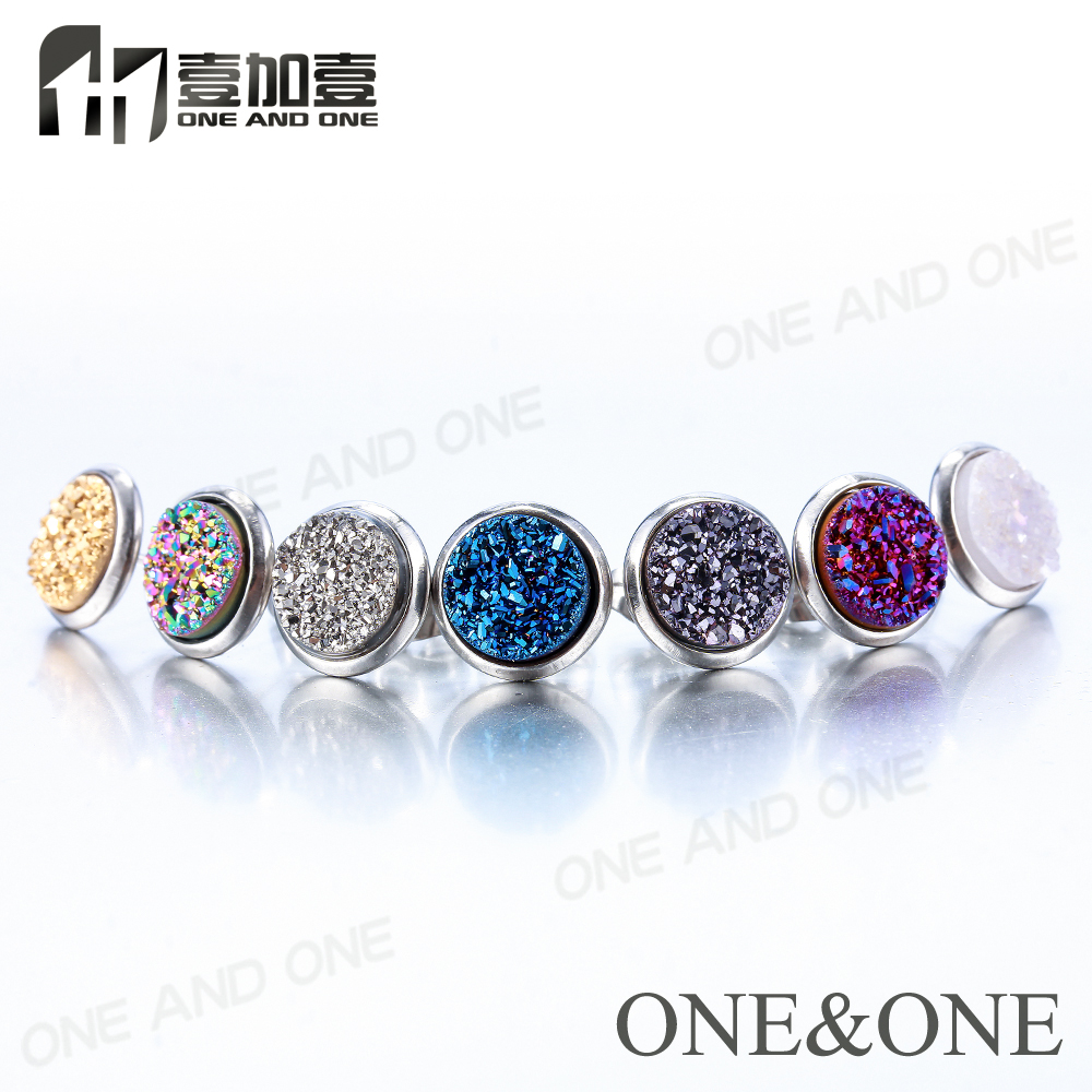 EYIKA 10 pairs Stainless steel mix colors stud earrings wholesale Round 8mm Natural Druzy Earring with