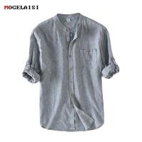 Men Shirt Flax 55% Striped Stand Neck Men's Shirts Linen Cotton Full sleeve Flax Shirt Men Clothing Pocket Asian size S 3XL