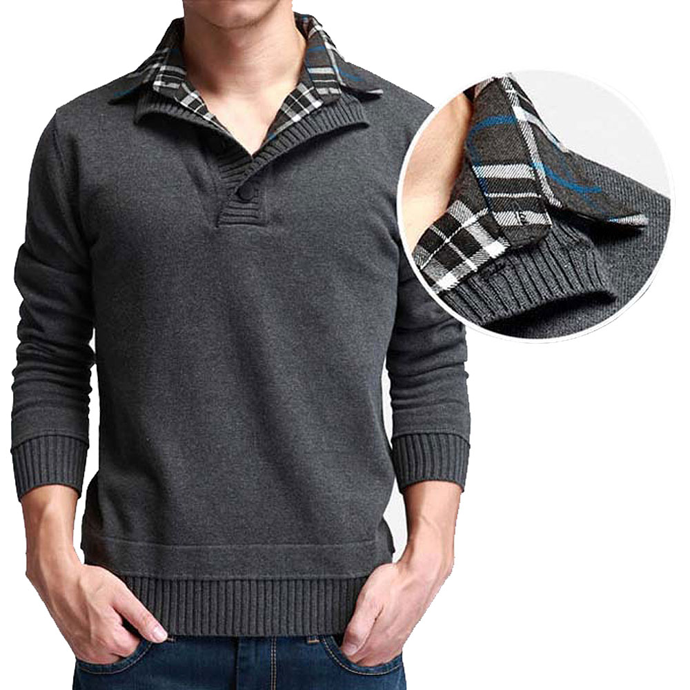 2015 Fall New Men's Fashion knitted Cashmere sweater double collar ...
