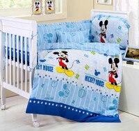 ¡Promoción! Juego de ropa de cama de bebé de 6 piezas de dibujos animados, juego de cama de cuna ropa de cama de lana gruesa para bebé (3 parachoques + colchón + almohada + edredón)