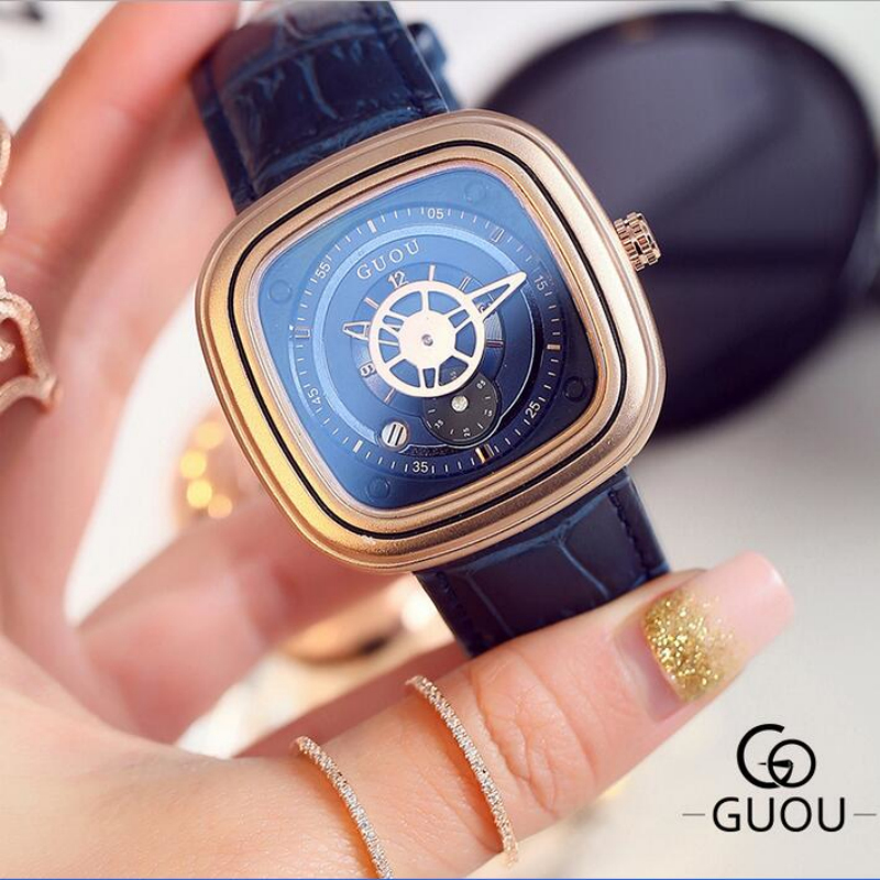 GUOU Fashion Casual Watch Women Watches Square Dial Rose Gold Ladies Watch Women's Watches Auto Date Clock saat reloj mujer сандали ecco 821014