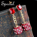 Special New Fashion Gold Plated Stud Earrings Trendy Dice Rhinestones Ear-piercing Jewelry Gifts for Women S1605E