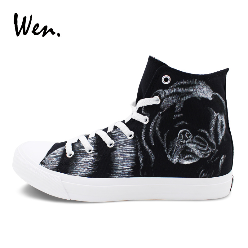Wen Pet Dog Pug Hand Painted Shoes Black Canvas Sneakers Women Men Gifts Custom Design Graffiti Shoes Lace-up High Top wen design custom hand painted canvas fashion shoes colorful lipsticks high top shoes sneakers white graffiti shoes men women