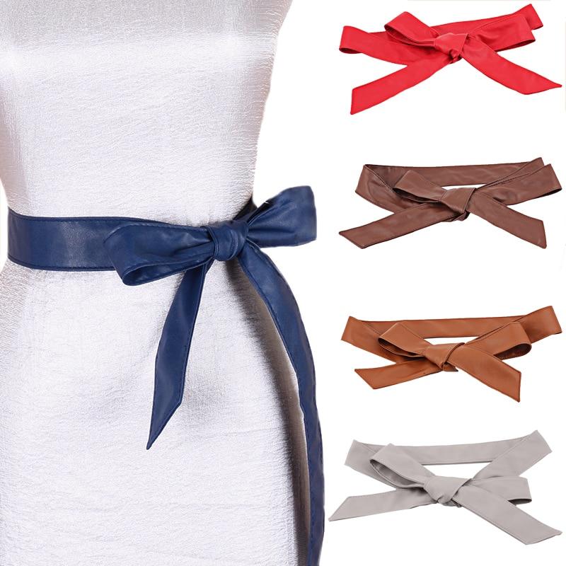 Awaytr Women Fashion PU Leather Cummerbunds Wrap Around Tie Wide Waistband Corset Cinch Belts Band 7 COLORS