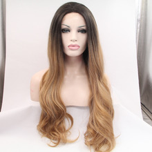 Long Wavy Heat Resistant Hair Wig Fashion Dark Root Brown  Blonde Ombre Wig Celebrity Synthetic Lace Front Wig Natural