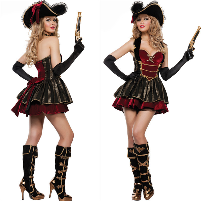 Halloween Women Sexy Cosplay Costume Caribbean Captain Spanish Pirate Costumes Female Warrior Cosplay  Carnival Dress Uniforms