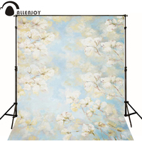 Free Shipping 5ft 7ft 150cm 215cm Photography Backdrops White Flowers Painting Photography Background
