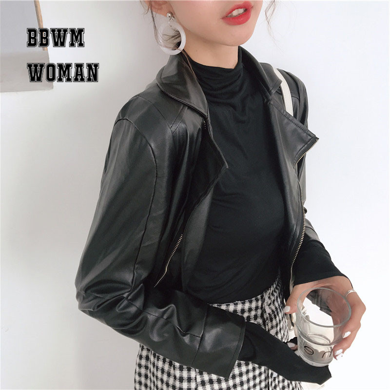 2018 Autumn and Winter New Retro Women Black   Leather   Jacket Motorcycle Slim Fashion Lapel   Leather   Coat Winter ZO819