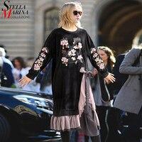 2017 Inverno Europeu Mulheres Vestido De Veludo Preto de Fenda Com Malha Ruffle Articulado Flor Bordado Plus Size vestido de Noite Vestidos de Festa 3095