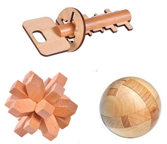 3PCS / Lot Juego de rompecabezas de inteligencia de madera 3D en 3D - Juegos y rompecabezas
