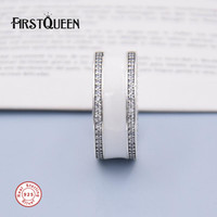 FirstQueen 925 Sterling Silver Hearts Of P Ring Silver Enamel Clear CZ Plata 925 Rings For