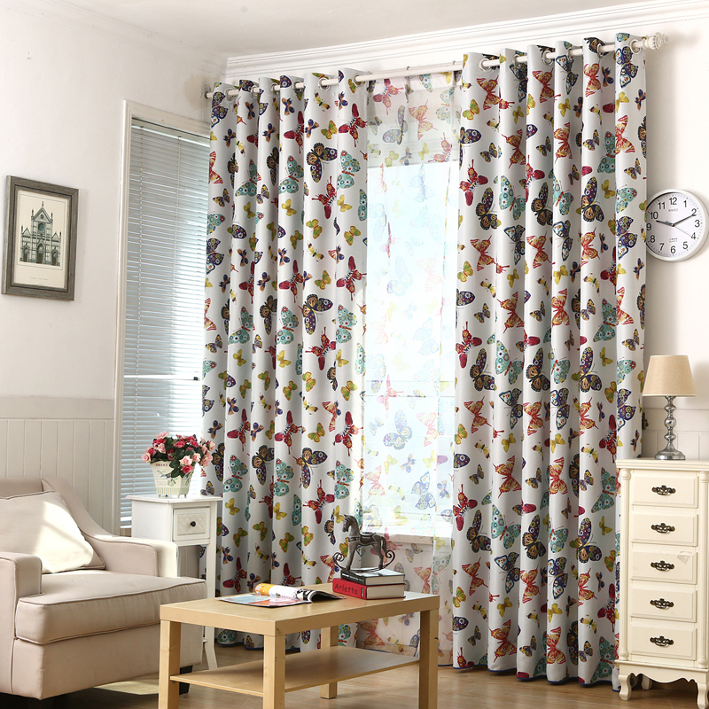 Butterfly Style Window Curtains For Boy Girl Bedroom Blackout Cloth Voile Curtain