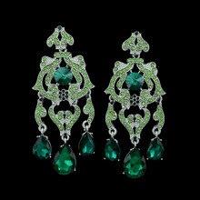 New brand full austrian green crystal flower dangle earrings tear drop long tassel chandelier earrings unique prom women jewelry