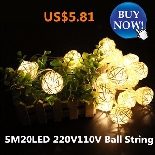 5M 20LED 220V110V Creamy White Cotton outdoor Ball String Fairy Lights Xmas Wedding holiday Party Ro