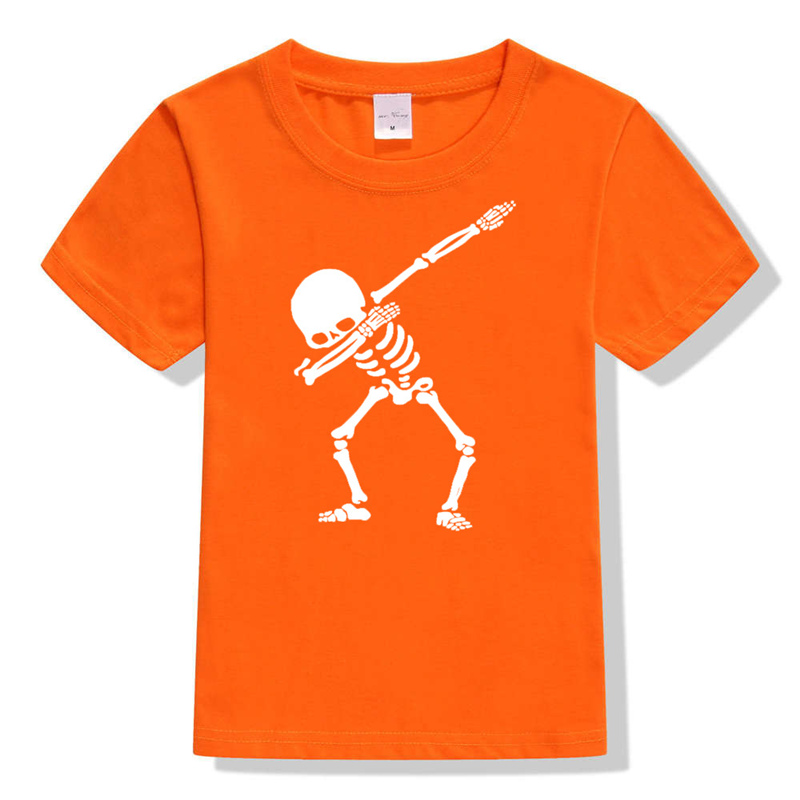 Orange Skull Hip Hop Dabbing Skeleton Kids T-Shirt Punk Shirts Children Boys Girls Funny Skull Teens T Shirts Summer New Clothes 2018 new parkour kids t shirt fashion boys girls t shirt free run style children summer tops cool tees teens hip hop streetwear