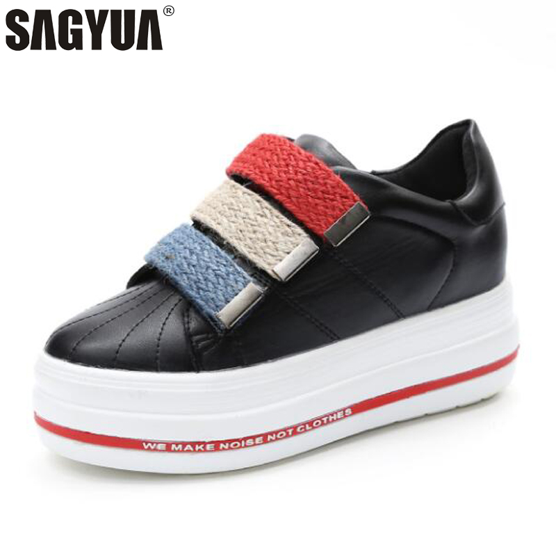 NEW Young Students Feamle Women Fashion Casual Shoes Feminino Lady Hook And Loop Thick Soled Leisure Platform Shoes Zapatos T674