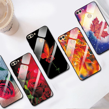 For Huawei Enjoy 7S Big Red Rose Glass Case Cover For Huawei P Smart FIG-LX1 PC Back Covers Tempered Glass Silicone Bumper аксессуар защитное стекло для huawei p smart enjoy 7s red line full screen tempered glass white ут000014174