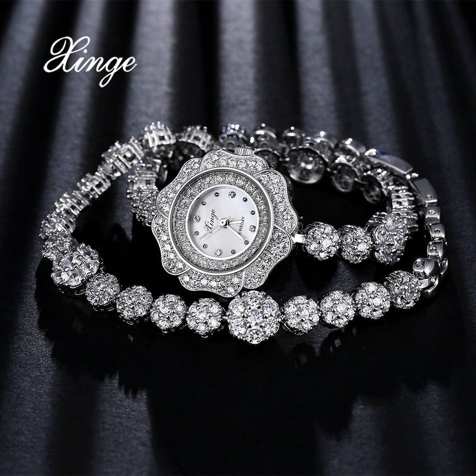Xinge Brand Steel Watches Luxury Women Zircon Wrist Watch Fashion Ladies Business Dress Quartz Watches Relogio Feminino xinge top brand luxury women watches silver stainless steel dress quartz clock simple bracelet watch relogio feminino