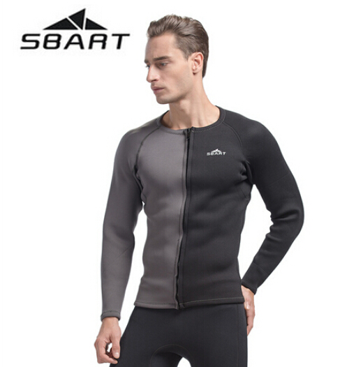 SBART 3MM Neoprene Long Sleeve Winter Swimming Wetsuit Men Shirt Rash Guard Diving Surfing Jersey Shirts Tops Swimsuit Tops sbart upf50 806 xuancai