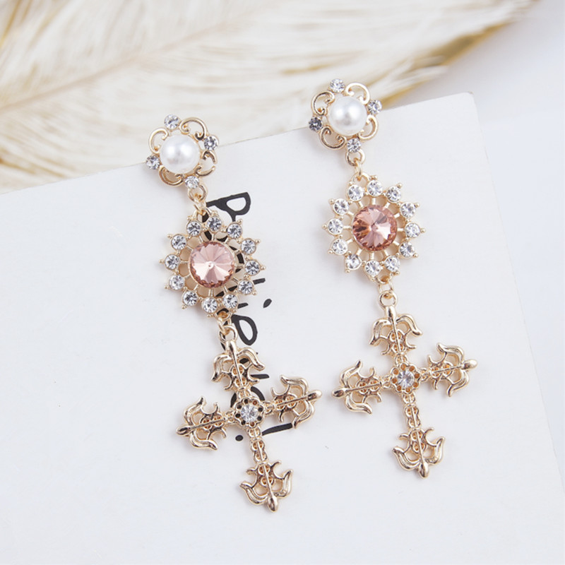 <font><b>2019</b></font> Fashion New Hollow Rhinestone <font><b>Flower</b></font> Long Cross Pendant Drop <font><b>Earrings</b></font> Vintage <font><b>Statement</b></font> Lady <font><b>Women</b></font> Jewelry Brincos 5B1013 image