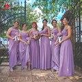 Plus Size Purple Adult Bridesmaid Dress A Line Chiffon Long Wedding Party Gown Vestido Boda Invitada Online Wholesale Women Gow