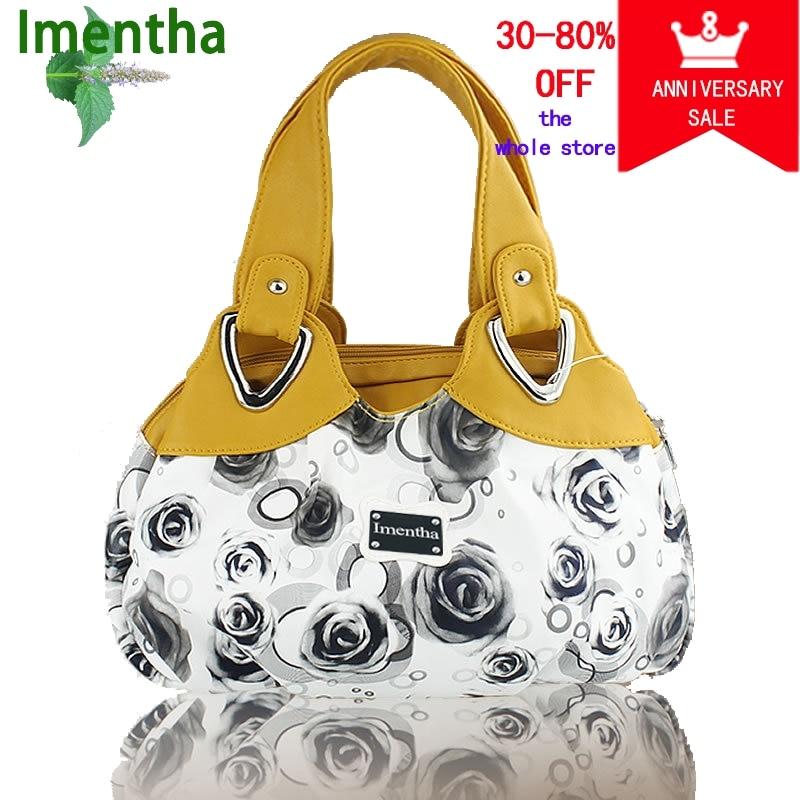 Hot 2017 Top-Handle Bags Flowers fashion foldable tote bags retro vintage women leather handbags tote trendy purses and handbags 1