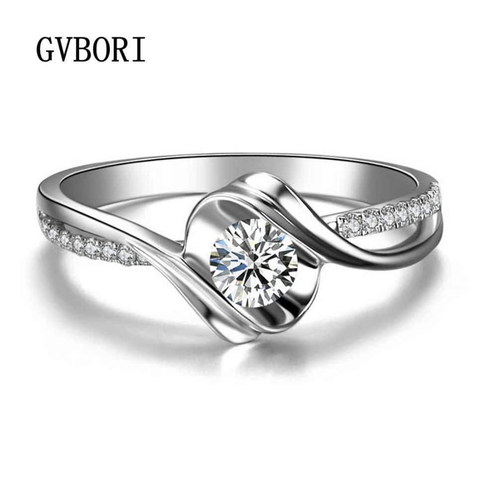013ct Diamond Wedding Ring Women GVBORI 18K White Real Gold Shining