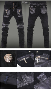 Image 5 - Nowe mody skinny spodnie skórzane faux skórzane dżinsy motocyklowe spodnie darmowa wysyłka 28 34 (mały rozmiar) A108