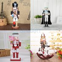 4 Pieces Handpainted Large Traditional Wooden Nutcracker Soldier Action Figure Toy Home Display Decor Christmas Gift