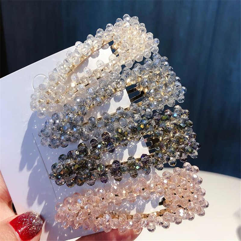 Fashion Crystal Pearl Hairpin Women Barrettes Hairgrip geometry Triangular Square Red Color Hair Clip Metal Hair Accessories