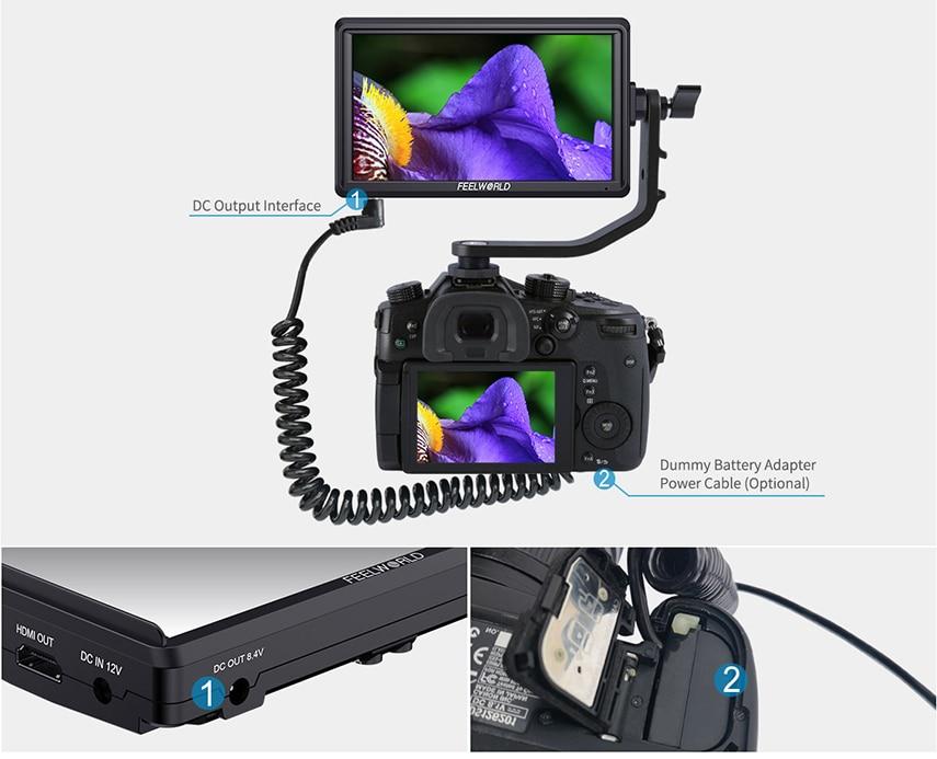 FEELWORLD S55 5.5 cal DSLR ekran aparatu 4K HDMI LCD IPS HD 1280x720 wyświetlacz monitor zewnętrzny 8.4V DC wyjście dla Canon Sony Nikon 11