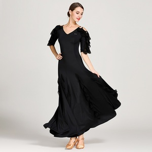 Image 2 - 女性社交ドレスワルツダンスドレスフォックストロットダンスドレススペインフラメンコドレスダンスブラックダンスの服標準ドレス