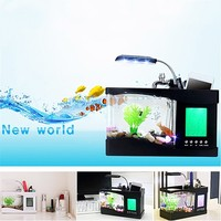 Hot USB Desktop Mini Fish Tank Aquarium Glass LCD Timer Clock LED Lamp Light Black White