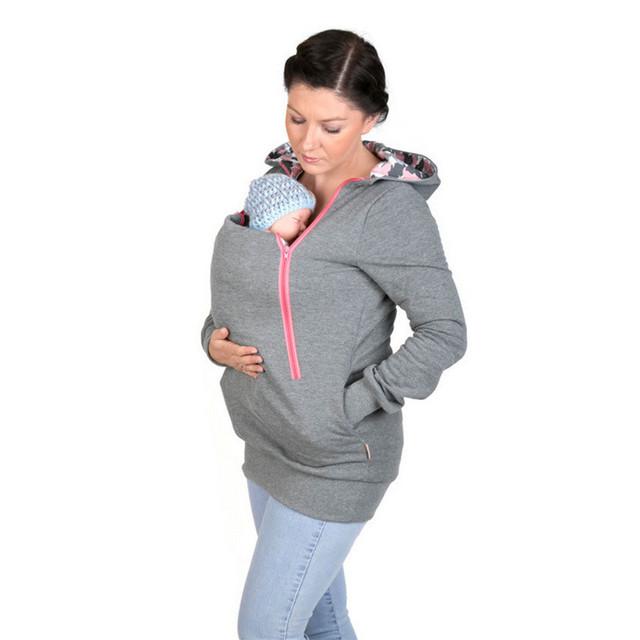 2017 Embarazo Babywearing Mujeres de la Capa de abrigo del portador de bebé Canguro buena calidad prendas de Vestir Exteriores de la chaqueta con el sombrero para Las Mujeres Embarazadas B0079