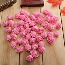 50pcs/lot Artificial Rose Flower Heads 3cm PE Foam craft Fake for DIY Accessories Wedding Party Decorations AQ217
