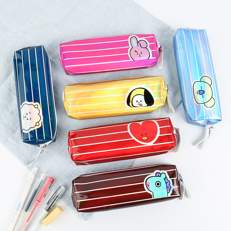 Laser Pencil Case Estuche Escolar Kalem Kutusu Trousse Scolaire Stylo Stripe Box Pencilcase School Cute Kawaii Bag Stationery