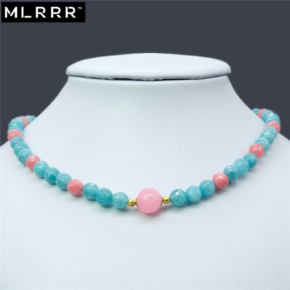 Vintage Classic Natural Stone Jewelry Noble 8mm Larimar & Rhodochrosites Beaded Chain Strand Necklaces with Pink Rubies