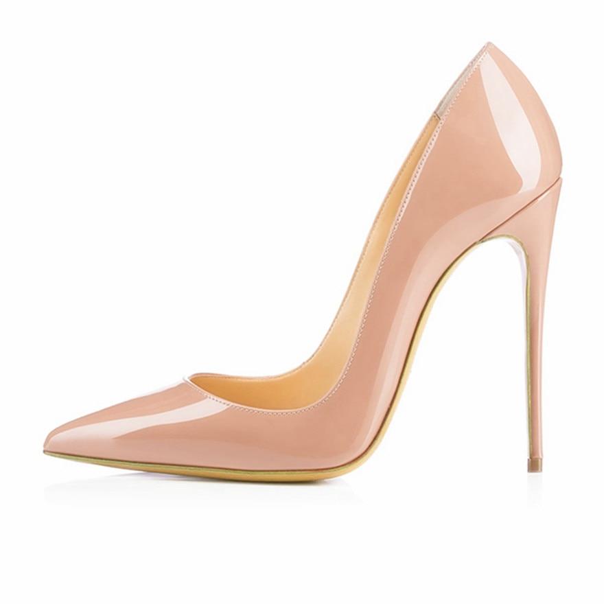 Brand Shoes Woman High Heels Pumps Red 12CM Women Wedding Black Nude