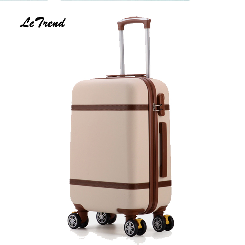 Letrend Vintage ABS+PC Rolling Luggage Spinner Trolley Women Travel Bag 20 inch Cabin Suitcases Wheel 24/26 inch Retro Trunk цена