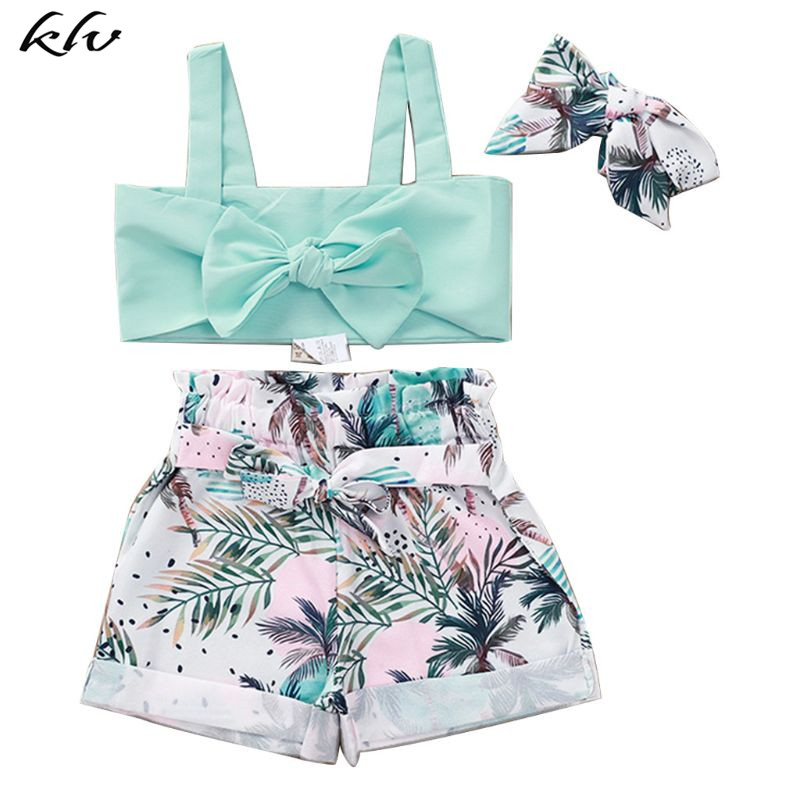 3 Pcs/Set Kids Cute Sling Top Pants Suit Coconut Tree Printing Girls Split Type Seaside Clothes Suits With Hair Band