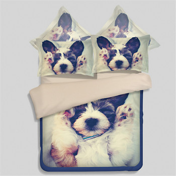 Cute 3D gray white dog pink printed bedding sets twin full queen king size duvet cover sheets fashion Girl boy kid home textiles