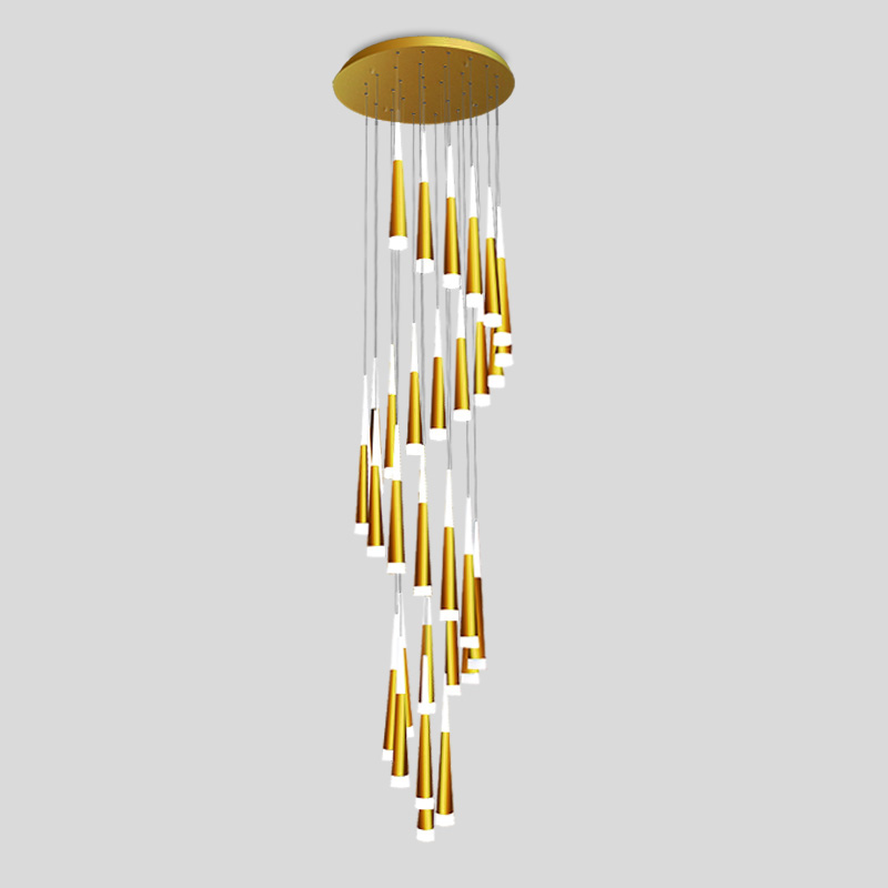 Meteor Shower Luxury Long Drop Light Modern Ceiling Suspended Spiral Pendant Lamp For Staircase Home Lighting Fixture