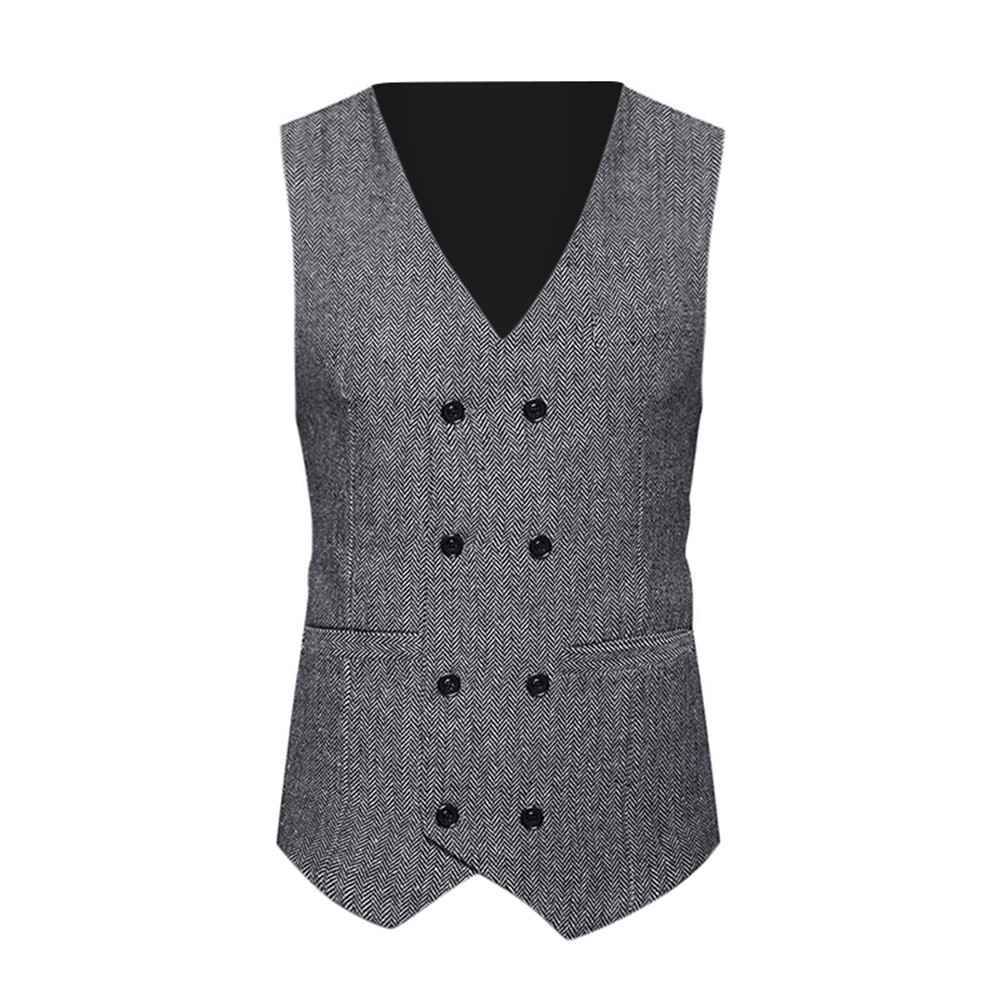 2019luxury Men Formal Tweed Check Double Breasted Waistcoat Retro Slim Fit Suit Business Formal Vest Solid Vest Classi T1