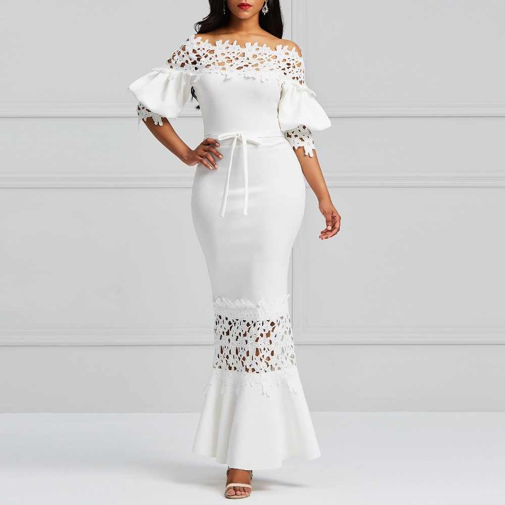 Clocolor Элегантное Длинное платье для женщин Белое кружево Slash шеи Русалка платья сексуальное кружево-вверх Bodycon Вечерние платья макси Vestidos