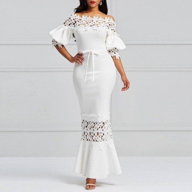 5b3095e39 € 22.59 51% de DESCUENTO|Clocolor elegante vestido largo mujer blanco  encaje Slash cuello sirena vestidos Sexy hueco encaje Up Bodycon fiesta  Maxi ...