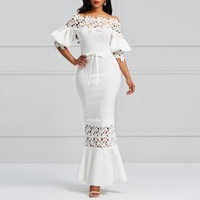 Clocolor Elegant Long Dress Women White Lace Slash Neck Mermaid Dresses Sexy Hollow Lace Up Bodycon Party Maxi Dresses Vestidos
