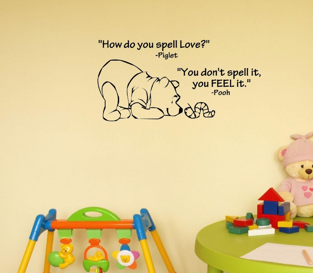 How do you spell love. Winnie the Pooh. Vinyl wall art Inspirational quotes home decor decal sticker