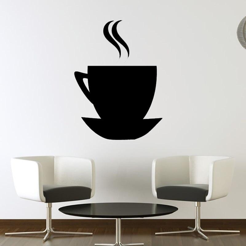 Promoción barata una taza de café y platillo etiqueta de la pared ...