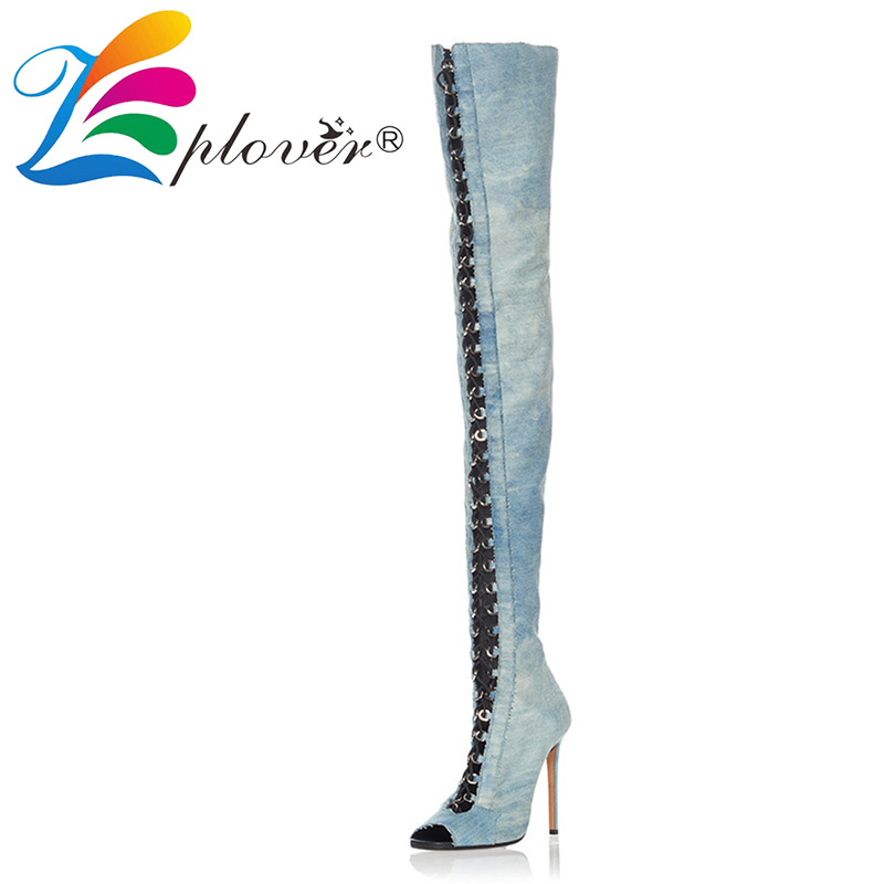 over the knee boots women fashion peep toe thigh high boots dress shoes woman high heels women shoes thin heels botas plus size